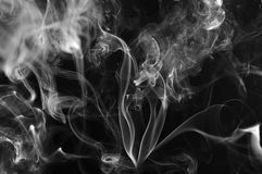 Abstract smoke on black background. Black and white smoke cloud. Royalty Free Stock Photography