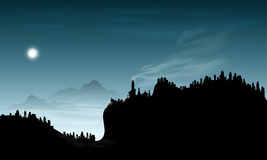 Abstract smoke mountain. At night with moon and sky background Stock Photography