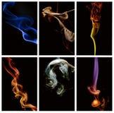 Abstract smoke series. Collage of several photos of smoke Stock Photo