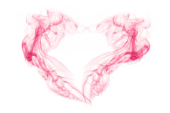 Abstract smoke in shape of heart on white . Royalty Free Stock Images
