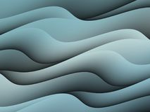 Abstract Smoky Blue Curves Waves Abstract Background Design. Curved uneven waves in shades of smoky gray blue create movement motion and flow stock illustration