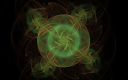 Abstract smoky donut. Abstract illustration of a circle with colored lines and triangles inside a glowing green color with petals around on a black background Stock Photos