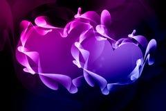 Abstract smoky hearts on black background stock photo