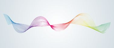 Abstract smooth curved lines Design element Technological background with a line in the form of a wave Stylization of a digital eq stock illustration