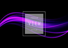 Abstract smooth design template. With purple transparent wavy lines in dynamic elegant soft style on dark background. Vector illustration stock illustration