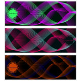 Abstract smooth fine lines. set. for your design. Retro background, pattern flowing multi-colored lines, transition bright colors, vector background. Vector Royalty Free Stock Photos