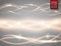 Abstract smooth glow light wave vector set on transparent background.. Vector special effects for your artwork. Curve flow golden smoke motion illustration Royalty Free Stock Photo