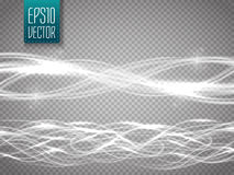 Abstract smooth glow light wave vector set on transparent background.  Stock Photos