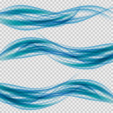 Abstract smooth wave vector set on transparent background Stock Images
