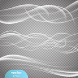 Abstract smooth wave vector set on transparent background.  Stock Image