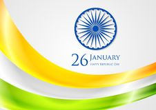 Abstract smooth waves background. Colors of India. Republic Day 26 January vector design Royalty Free Stock Photography
