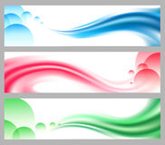 Abstract smooth wavy headers or banners set. Set of wavy headers or banners. Smooth waves and Bubbles in various colors stock illustration