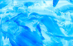 Abstract smudged blue. Colorful background hand drawn with bright inks and watercolor paints. Color splashes and splatters create uneven artistic modern design Royalty Free Stock Image