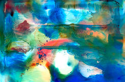 Abstract smudged blue with some red. Colorful background hand drawn with bright inks and watercolor paints. Color splashes and splatters create uneven artistic Stock Photography