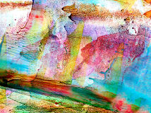 Abstract smudged multicolor print. Colorful background hand drawn with bright inks and watercolor paints. Color splashes and splatters create uneven artistic Royalty Free Stock Photos