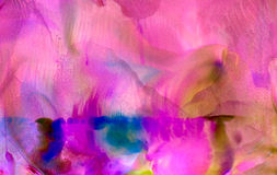 Abstract smudged painted purple with marks. Colorful background hand drawn with bright inks and watercolor paints. Color splashes and splatters create uneven Royalty Free Stock Photos