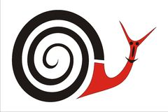 Abstract snail. Black and red snail character Royalty Free Stock Photography