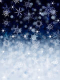 Abstract Snow Background. Abstract Blue Background with snowflakes Stock Photos