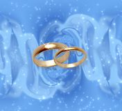 Abstract snow background with wedding rings Royalty Free Stock Images