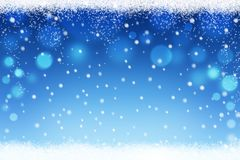 Abstract snow bokeh background with snowflakes for Christmas and Winter Royalty Free Stock Images