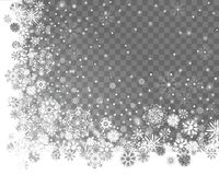 Abstract snow corner frame design on a transparent background Royalty Free Stock Image