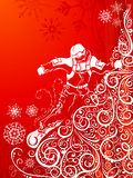 Abstract snowboarder. Ornate illustration of snowboarder on vintage mountainside Royalty Free Stock Image