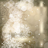 Abstract snowflake background of holiday lights Stock Photo
