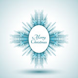 Abstract snowflake with Merry Christmas sign Stock Images