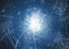 Abstract snowflakes background. Blue abstract snowflakes background with stars, lines and snowflakes Royalty Free Stock Image