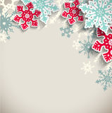 Abstract snowflakes  on beige background, winter. Abstract blue and red snowflakes  with 3d effect on beige background, winter or christmas concept, vector Royalty Free Stock Photos