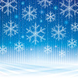 Abstract snowflakes blue background. Royalty Free Stock Image