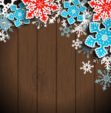 Abstract snowflakes on dark wood, winter christmas concept, illustration Stock Photo