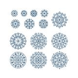 Abstract snowflakes element set in line style. Stock Photos
