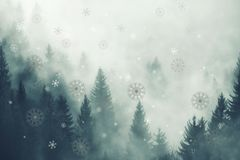 Abstract snowflakes with foggy alpine forest Stock Images