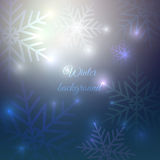 Abstract snowflakes on nihgt sky. Beautiful Christmas and New Year card template. Vector illustration, winter background. Silver glowing and glittering Stock Images