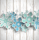 Abstract snowflakes  on white wood, winter concept, illustration Royalty Free Stock Photos