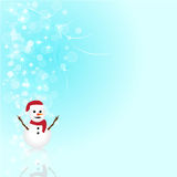 Abstract snowman christmas blue background. Abstract snowman and glow Christmas blue  background Royalty Free Stock Photo