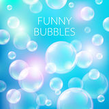 Abstract soap bubbles vector background. Transparent circle, sphere ball, water sea and ocean pattern illustration Royalty Free Stock Photography