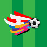 Abstract soccer backgound template. Abstract soccer background. soccer with colorful stripe wave meaning is `the sport for everyone royalty free illustration