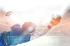 Diving goalkeeper n the stadium Royalty Free Stock Photography