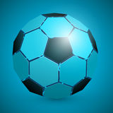 Abstract soccer ball 3d blue Royalty Free Stock Photo