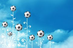 Abstract soccer ball flowers. An abstract illustration of decorative flowers with white stems and black and white blossoms resembling soccer balls Stock Photography