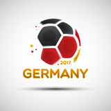 Abstract soccer ball with German national flag colors. Football championship banner. Flag of Germany. Vector illustration of abstract soccer ball with German Stock Photo