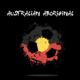 Abstract Soccer ball. Painted in the colors of the Australian Aboriginal flag. Vector illustration Royalty Free Stock Photo