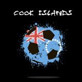 Abstract Soccer ball. Painted in the colors of the Cook Islands flag. Vector illustration Stock Images