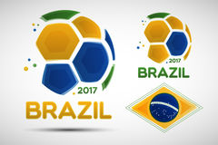 Abstract soccer balls with Brazilian national flag colors Royalty Free Stock Photo
