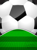 Abstract soccer brochure with ball and bursting field Royalty Free Stock Photography