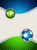 Abstract soccer brochure with blue ball and green map Stock Photography