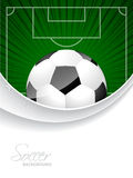 Abstract soccer brochure with bursting ball and field Stock Images