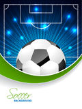 Abstract soccer brochure with bursting ball and space for text Royalty Free Stock Photo
